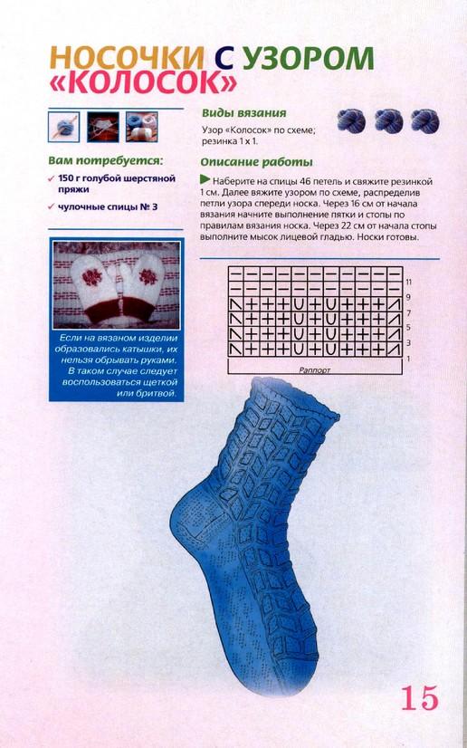 Вязание носок на спицах носки рисунок видео